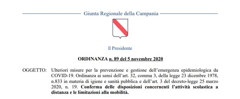 REGIONE CAMPANIA: Ordinanza n.89 del 5/11/2020